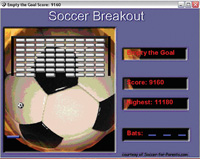 Screen capture of Soccer Breakout